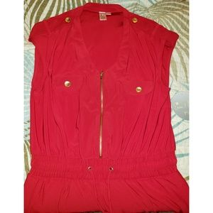 Red with Gold Detsils Sleeveless Jumpsuit NWT